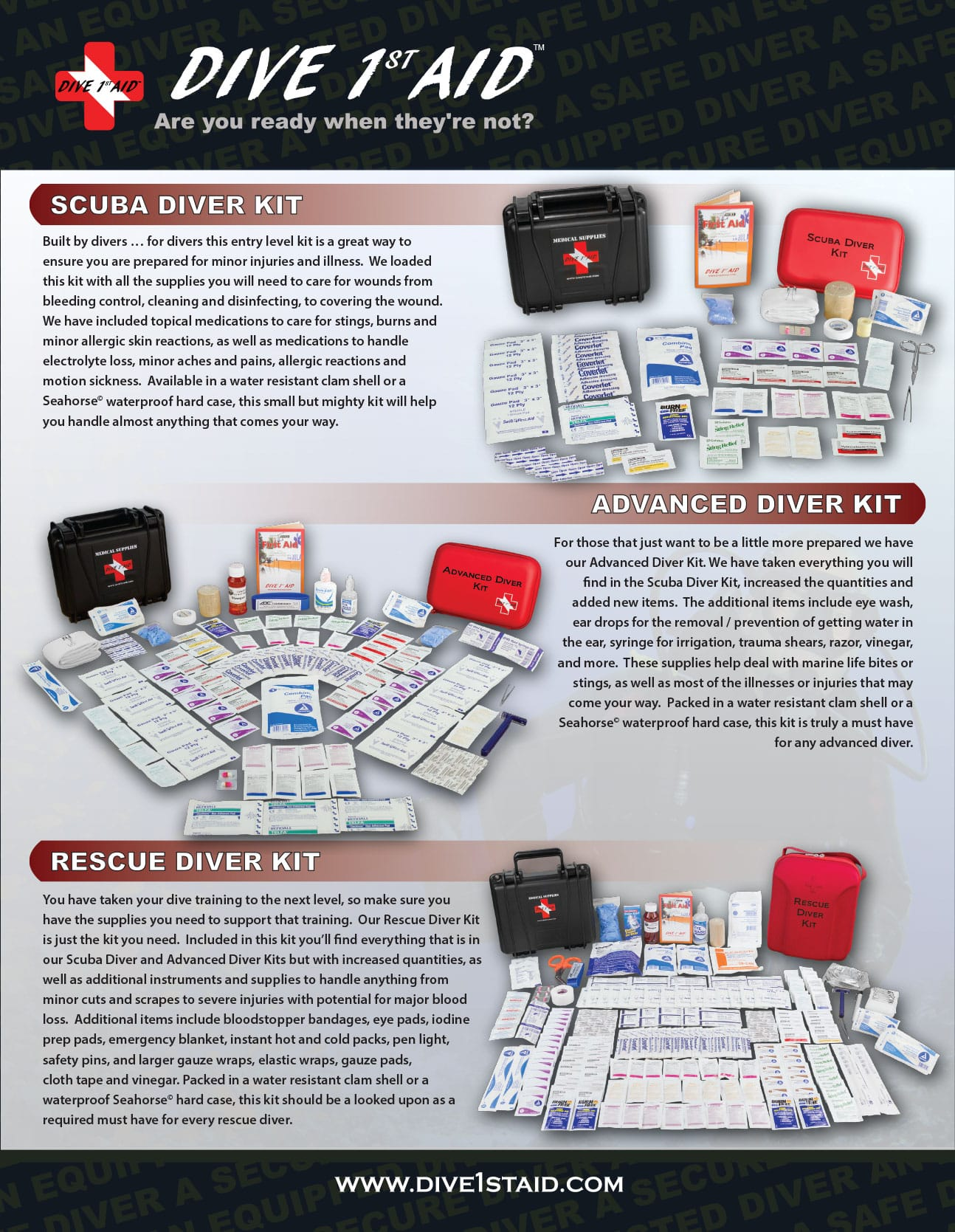 Professional 1st Aid kits for Advanced and Rescue Scuba Divers