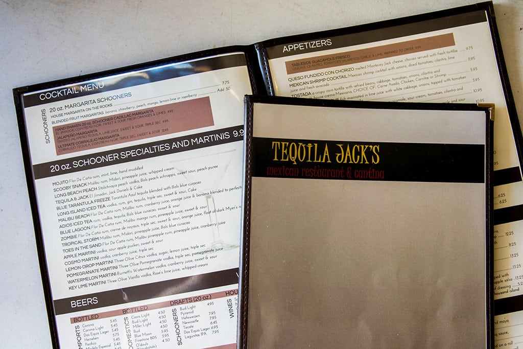 tequila jacks menu